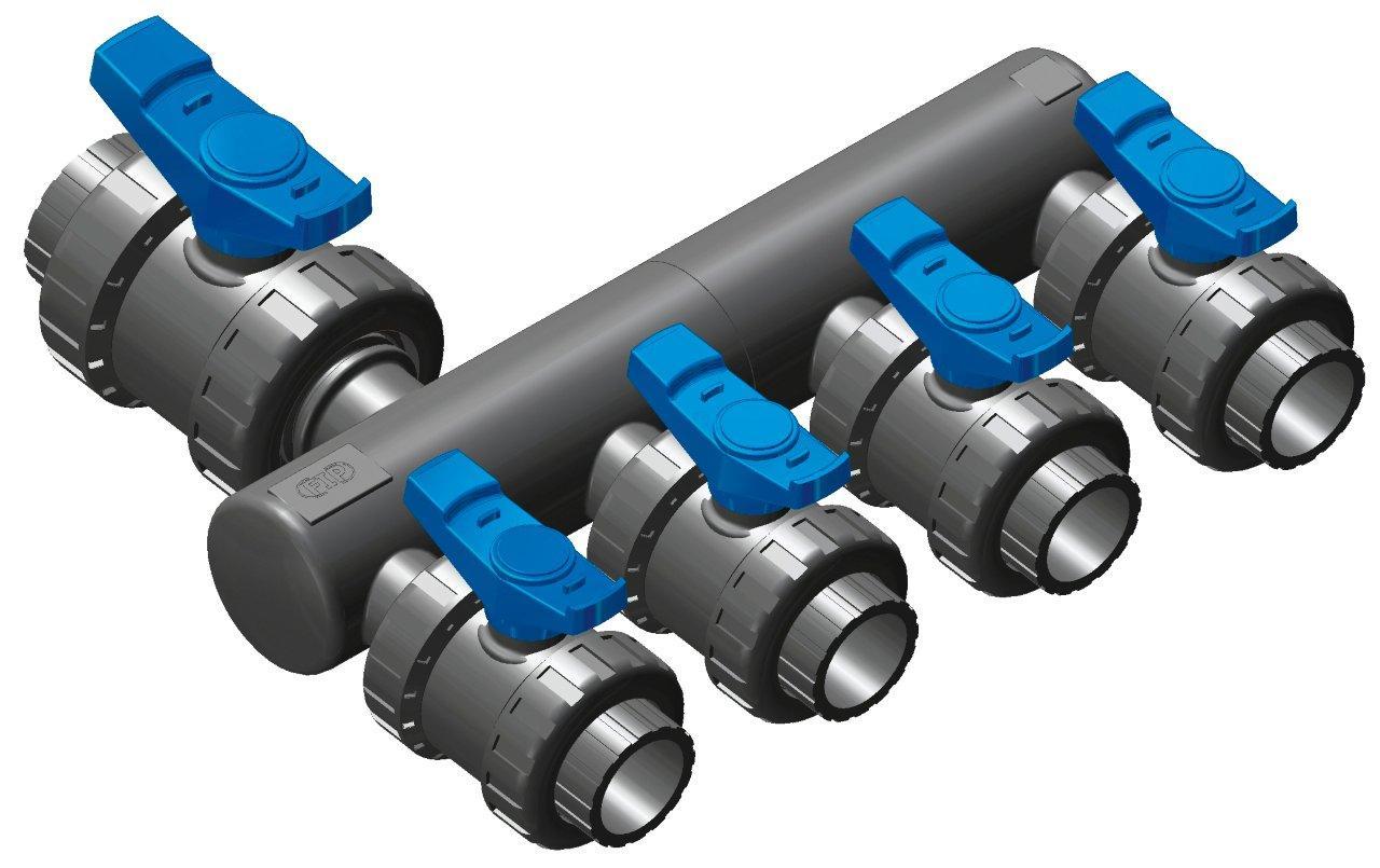 Sběrací potrubí – napojení 50mm lepením,2x přímé napojení ventilu 50mm