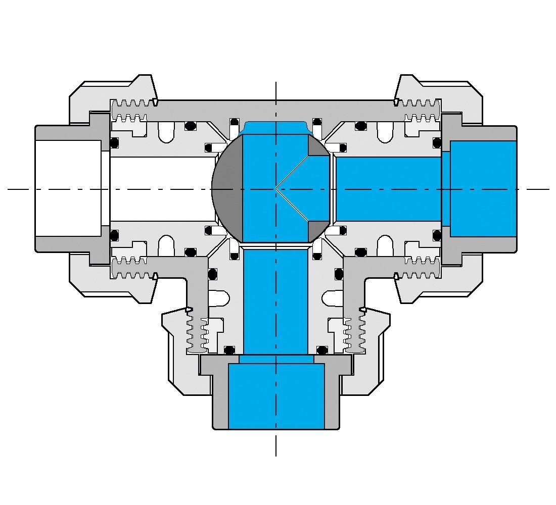 PVC Kulový třícestný ventil 20 mm T