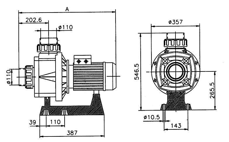 Pumpa KRETA 80 m3/h 400 V – napojení 110 mm 4,71 kW