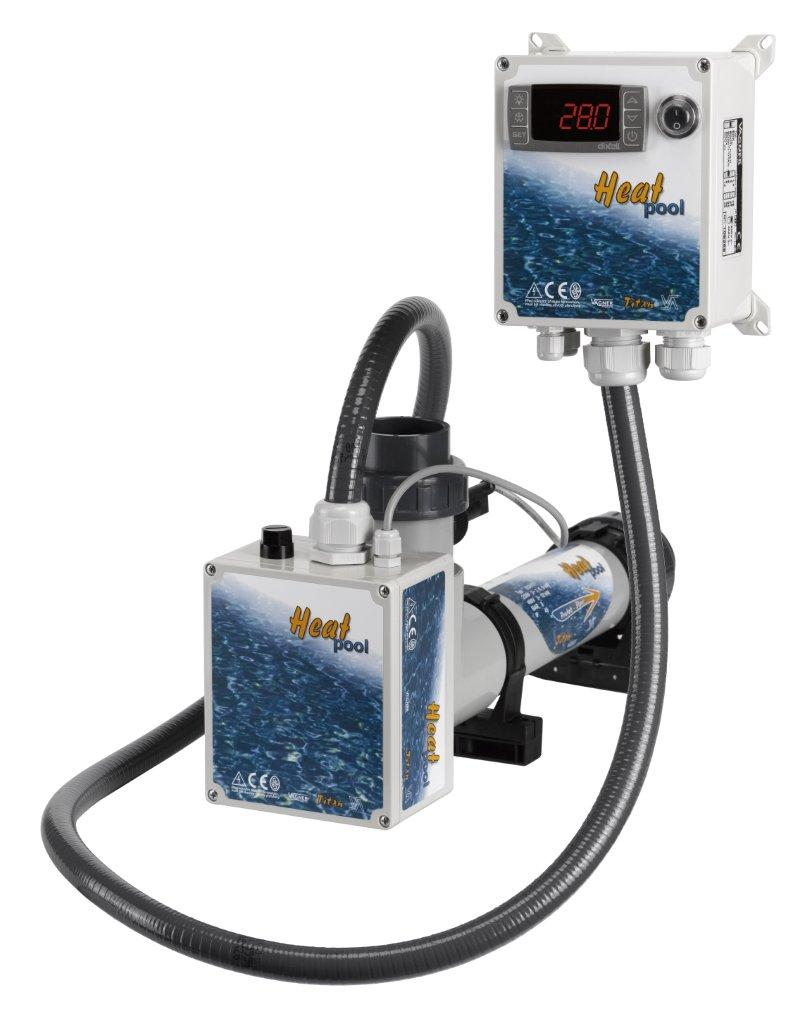 Topení - Heat Pool 3kW, 230/400V, Titan, el.průt.spínač,dig.termostat