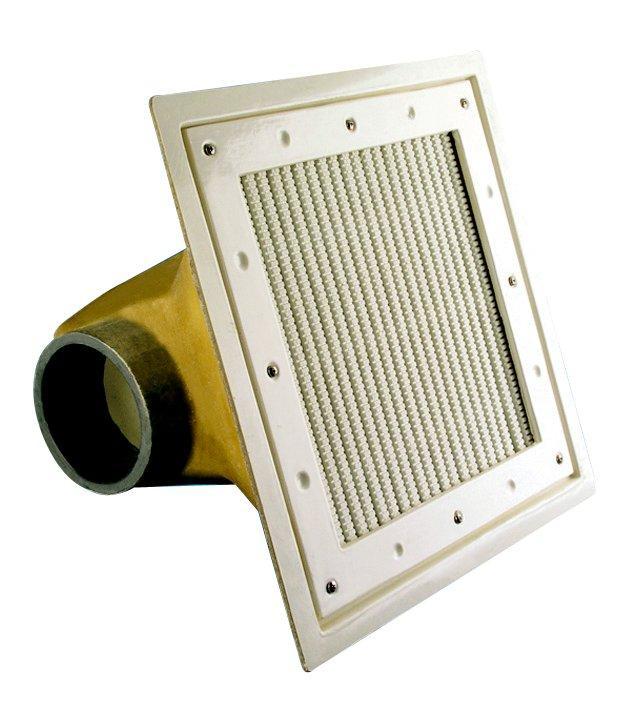 Podlahová výpust 250 x 250 mm, plast. rošt, folie, 110 mm, 40 m3/h
