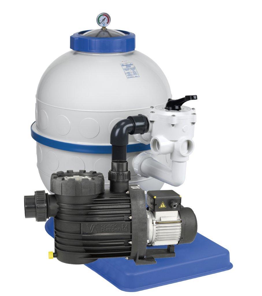 Filtrační zařízení - Granada KIT 600,  14 m3/h, 230V, 6-ti cest boč. ventil, čer