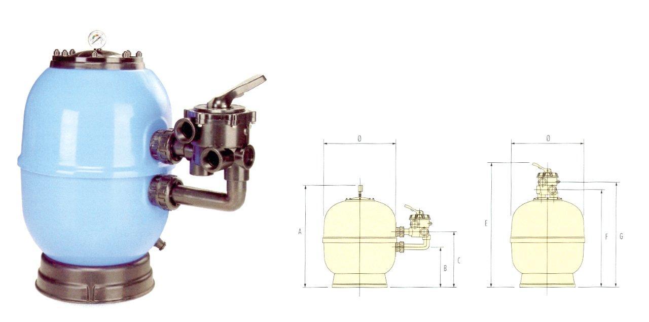 Filtrační nádoba Lisboa 450 mm, průtok 8 m3/h, boční ventil