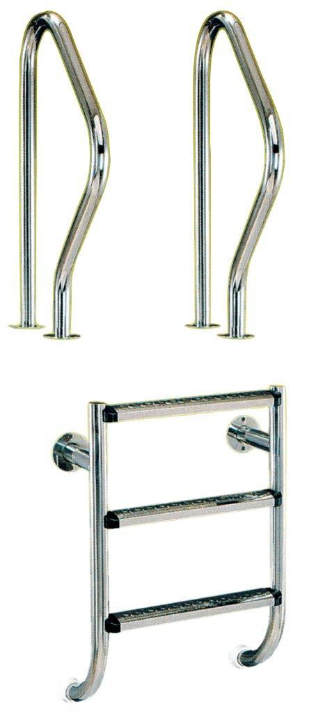 Žebřík nerez dvoudílný – 3 stupně (kotvení přírubou), AISI 304