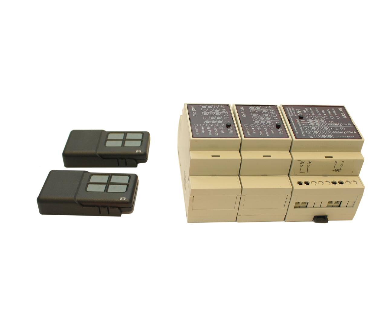 Dálkové spínání tříkanálové (tj. tří zařízení) 2x klíčenka
