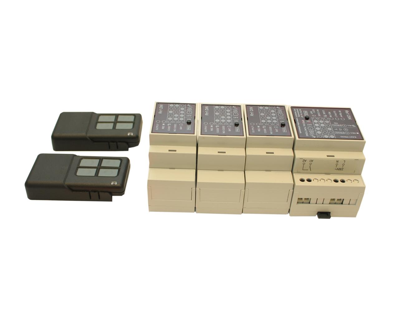 Dálkové spínání čtyř-kanálové (tj. čtyř zařízení) 2x klíčenka