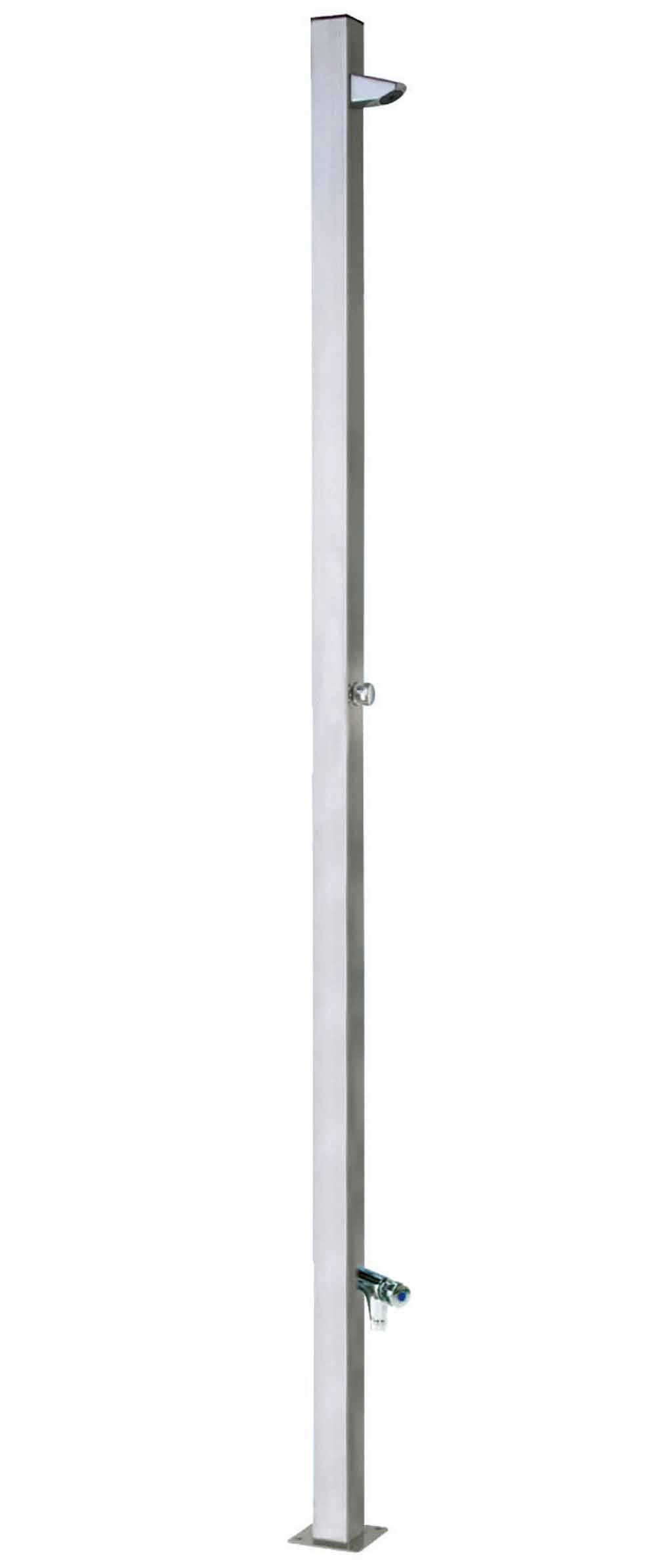 Tetra rozsdamentes acél kerti zuhanyoszlop automatikus vezérléssel, lábmosóval